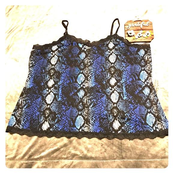 Fashion Bug Tops - Fashion Bug Blue Snake Skin Print Lace Camisole